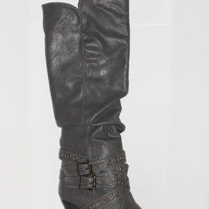 Grey knee high boot